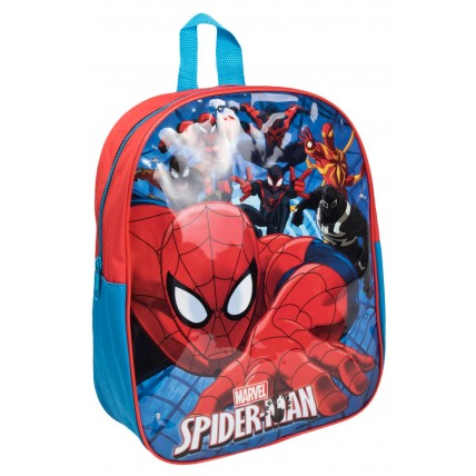 Marvel Spiderman Boys Light Up Backpack  Webbed Background