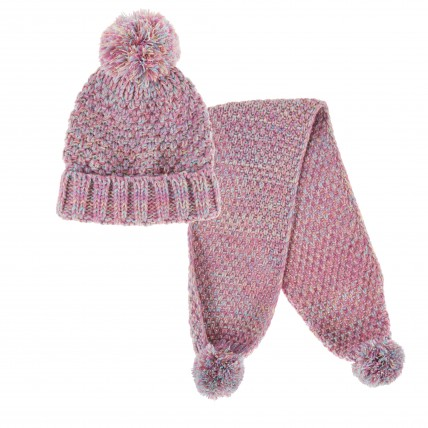 Girls Chunky Knit Woolly Hat + Scarf Winter Set Kids Thick Fleece Xmas Gift Size