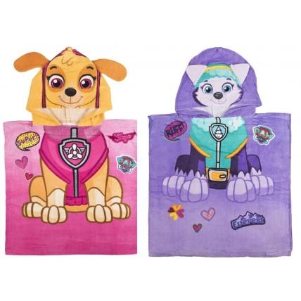 Girls Paw Patrol Hooded Poncho Towel