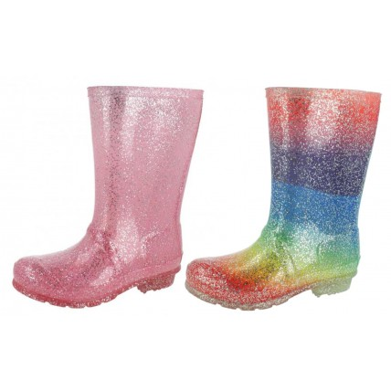 Girls Glitter Wellington Boots
