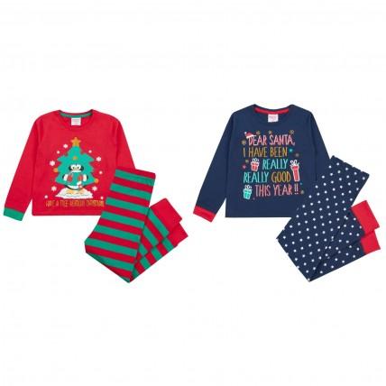 Girls Boys Long Pyjamas - Christmas Themed