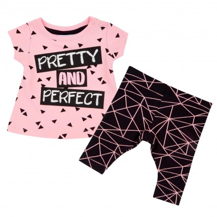 Baby Girls Two Piece Tunic + Leggings Outfit - Pink