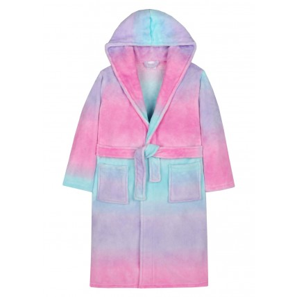Girls Luxury Hooded Dressing Gown Sherbet Ombre