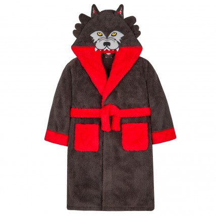 Boys Dressing Gown - 3D Wolf