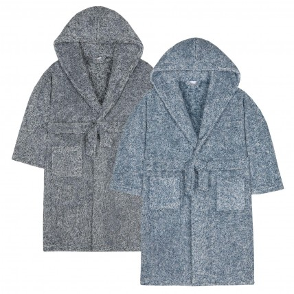 Boys Two Tone Sherpa Fleece Hooded Dressing Gown Kids Snuggle Bathrobe Gift Size