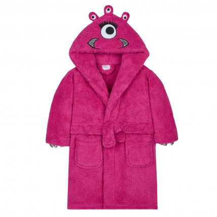 Girls Dressing Gown - Pink Monster
