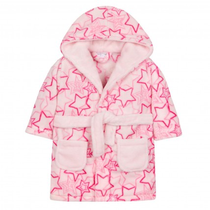 Baby Fleece Dressing Gown - Pink Star