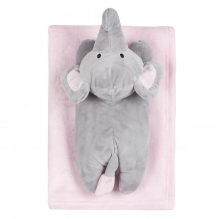 Baby Boys Girls Blanket + Plush Elephant Gift Set Newborn Fleece Wrap Pink Blue