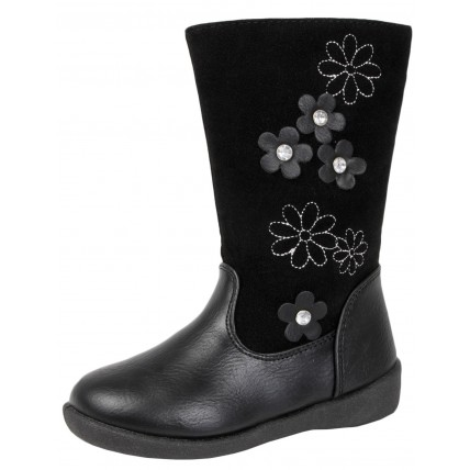Girls Knee High Boots - Cut Out Flowers