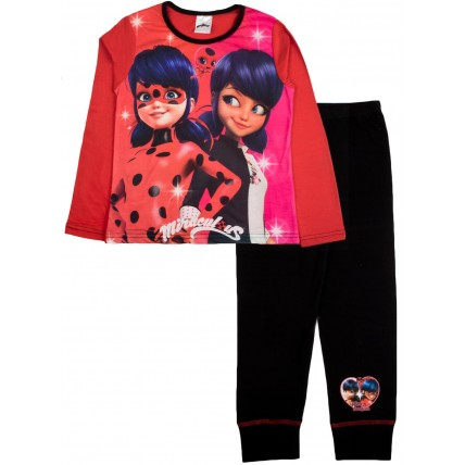 Girls Miraculous Long Pyjama Set - Ladybug, Marinette & Tikki