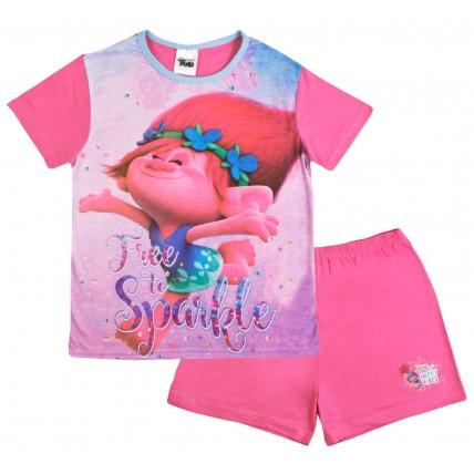 Girls Trolls Short Pyjamas - Free To Sparkle