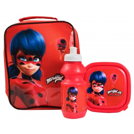 Miraculous Ladybug Girls Lunch Bag + Sandwich Box + Bottle Set