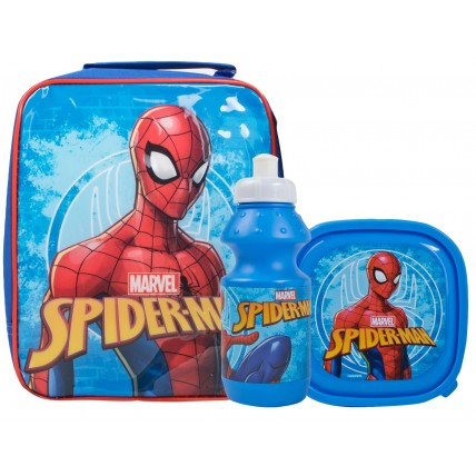 Spiderman Boys Lunch Bag + Sandwich Box + Bottle Set