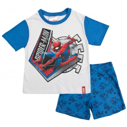 Marvel Spiderman Short Pyjamas - White / Blue