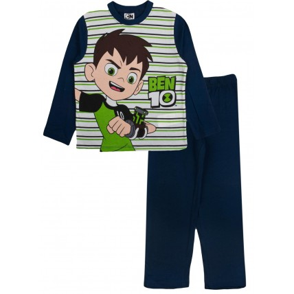 Ben 10 Long Pyjamas - Navy / Green Stripes