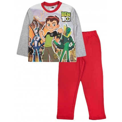 Ben 10 Long Pyjamas - Red / Grey