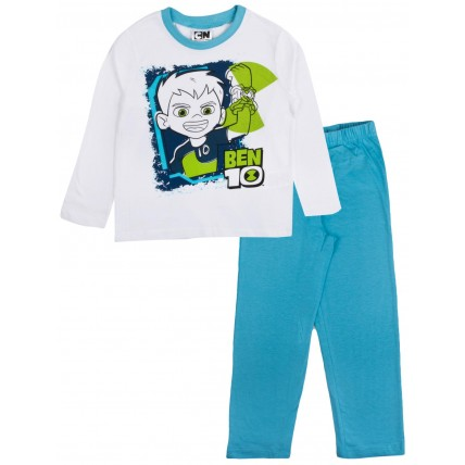 Ben 10 Long Pyjamas - White / Blue