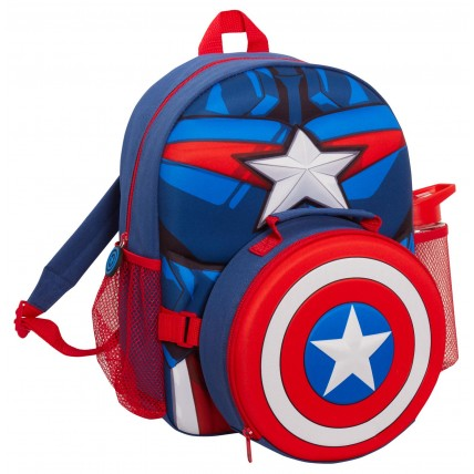 Boys Captain America Backpack + Lunch Bag + Water Bottle Matching 3 Piece Set