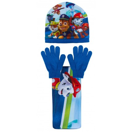 Boys Paw Patrol Woolly Hat + Scarf + Gloves Winter Set Kids Chase Marshall Gift