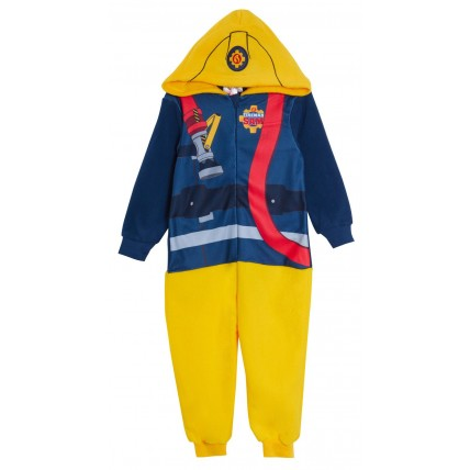 Boys Fireman Sam Dress Up All In One Kids Infant Luxury Fleece Sleepsuit Pyjamas