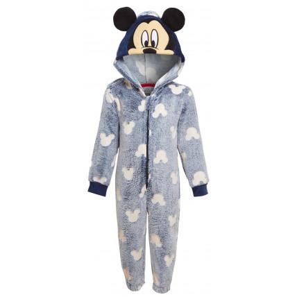 Kids Mickey Mouse Glow In The Dark All In One Disney Fleece Dress Up Sleepsuit