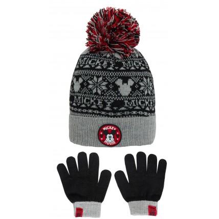 Boys Mickey Mouse Woolly Bobble Hat + Gloves Winter Set Kids Disney Gift Size