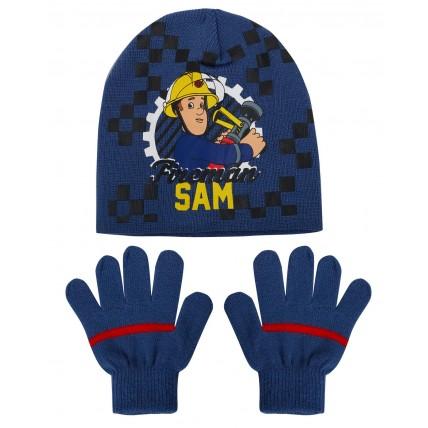 Boys Fireman Sam Stretch Beanie Woolly Hat + Gloves Winter Set Kids Xmas Gift