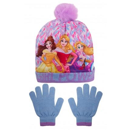 Girls Disney Princess Woolly Bobble Hat + Glitter Gloves Winter Set Xmas Gift