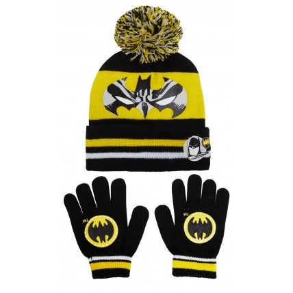 Boys Batman Bobble Hat + Gloves Winter Set Kids DC Comics Warm Xmas Gift Size