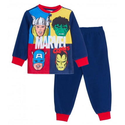Boys Marvel Comics Avengers Fleece Pyjamas Kids Hulk Thor Twosie Lounge Set Pjs