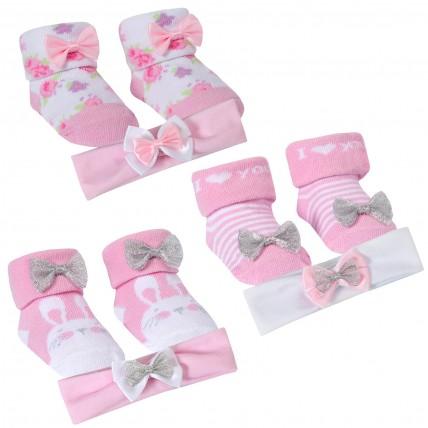 Baby Girls Headband + Socks Gift Set