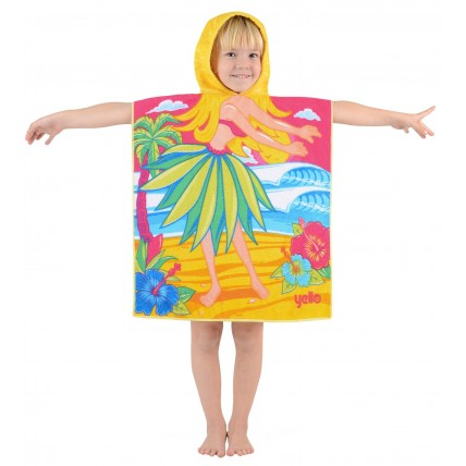 Hula Girl Hooded Poncho Towel