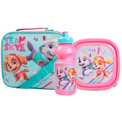 Paw Patrol Girls Lunch Bag + Sandwich Box + Bottle Set