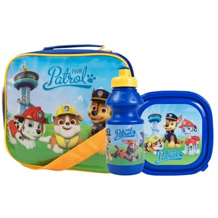 Paw Patrol Boys Lunch Bag + Sandwich Box + Bottle Set