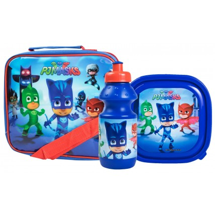 PJ Masks Boys Lunch Bag + Sandwich Box + Bottle Set