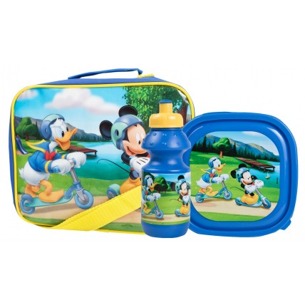 Micky Mouse Boys Lunch Bag + Sandwich Box + Bottle Set