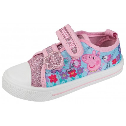 Peppa Pig Girls Canvas Pumps - Glitter Flowers