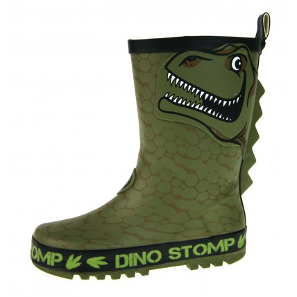 Boys 3D Dinosaur Rubber Wellington Boots
