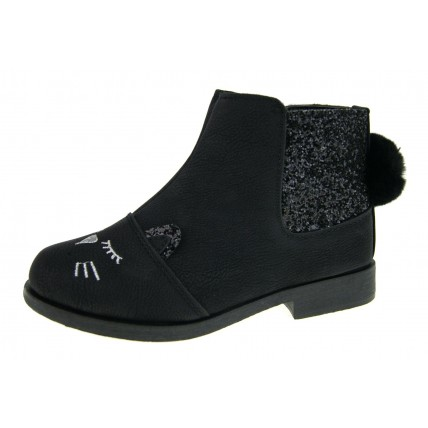 3D Cat Glitter Ankle Boots