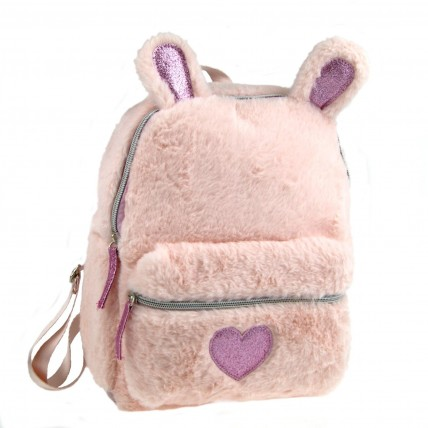 Girls Plush 3D Bunny Bag  Pink Glitter