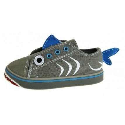 Boys Novelty Shark Canvas Pumps