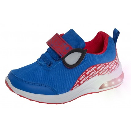 Boys Spiderman Light Up Sports Trainers Boys Marvel Easy Fasten Flashing Shoes