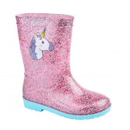 Girls Glitter Unicorn Wellington Boots
