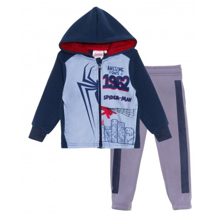 Boys Spiderman Fleece Tracksuit Kids Marvel Avengers Zip Hoodie And Jogger Set