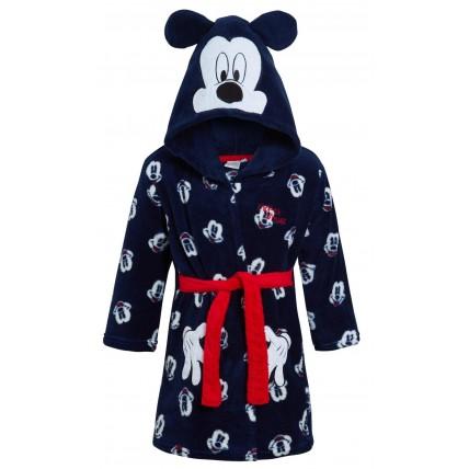 Disney Mickey Mouse Hooded Bathrobe Kids Fleece Dressing Gown Dress Up Robe Size