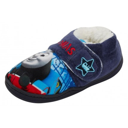 Thomas The Tank Engine Boys Fleece Lined Slippers Kids House Shoes Booties Size
