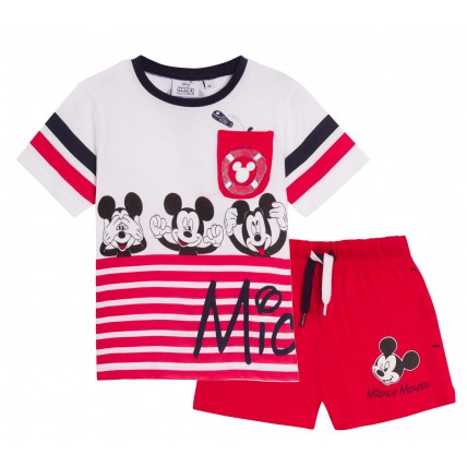 Boys Mickey Mouse Shorts + T-Shirt Set Kids Disney Cotton Summer Outfit Size