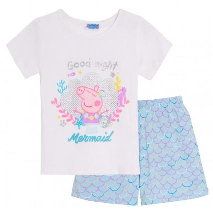 Girls Peppa Pig Short Pyjamas Kids Mermaid Glitter Shortie Pj Set Nightwear Size