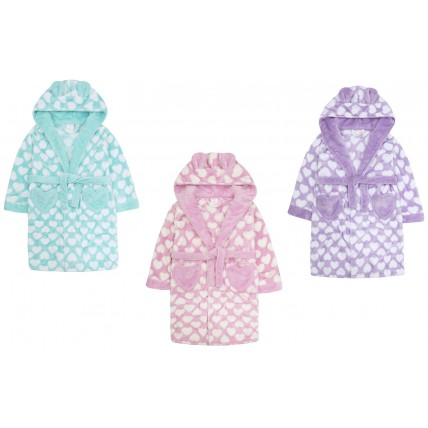 Girls 3D Heart Print Dressing Gown