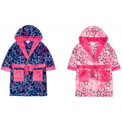 Girls Hooded Dressing Gown Star Print